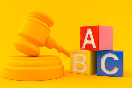 Law background with toy blocks in orange color Foto de archivo