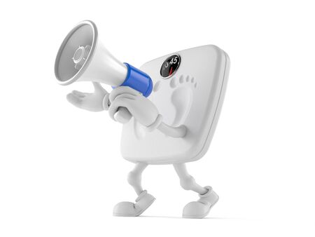 Weight scale character speaking through a megaphone isolated on white background