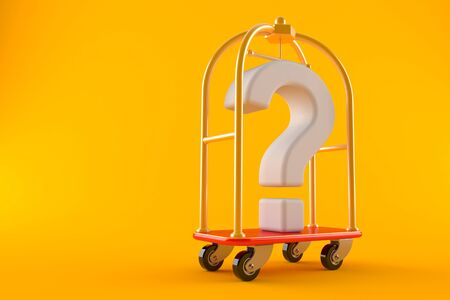 Luggage cart with question mark isolated on orange background