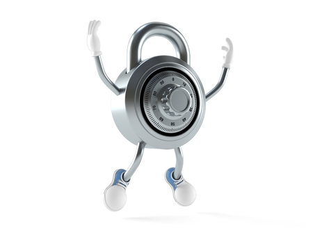 Combination lock character jumping on white background