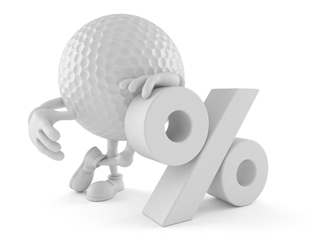 Golf ball character with percent symbol isolated on white background 版權商用圖片