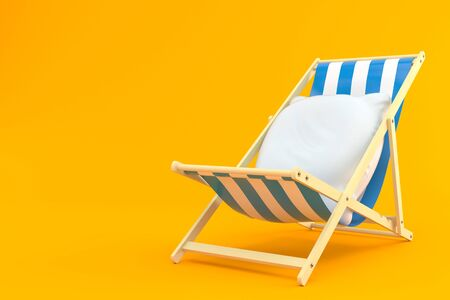 Pillow on deck chair isolated on orange background