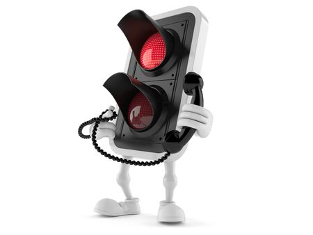 Red light character holding a telephone handset isolated on white background Stock Photo