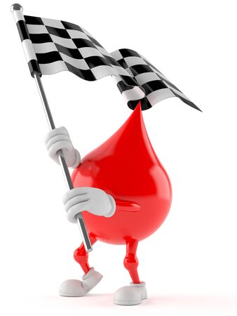 Blood drop character with racing flag isolated on white background