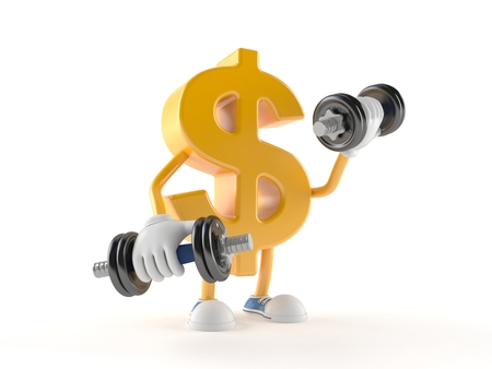 Dollar character with dumbbell isolated on white background