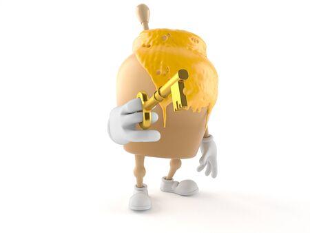 Honey jar character holding door key isolated on white background Stock Photo