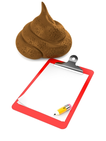 Dung poo with blank clipboard isolated on white background