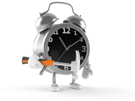 Alarm clock character with hammer isolated on white background