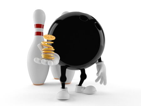 Bowling character with coins isolated on white background
