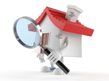 House character looking through magnifying glass isolated on white background Stok Fotoğraf - 96493398