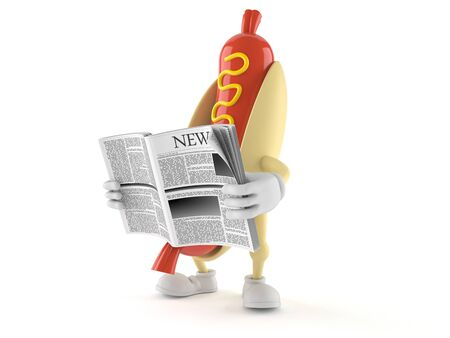 Hot dog character reading newspaper on white background Stock Photo