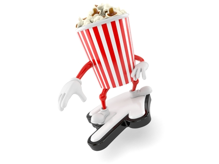 Popcorn character with cursor isolated on white background