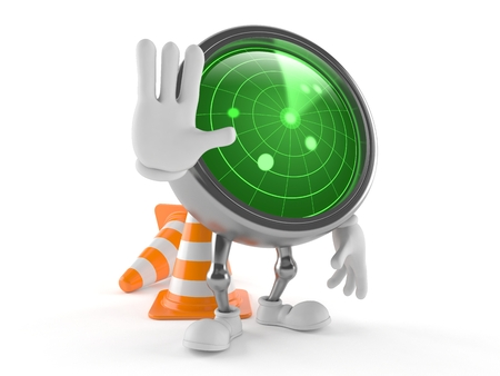 Radar character with traffic cone isolated on white background Stock Photo