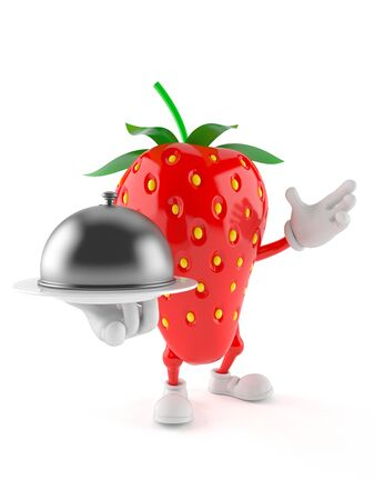 Strawberry character holding catering dome isolated on white background