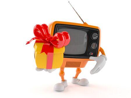Retro TV character holding gift isolated on white background Stock Photo