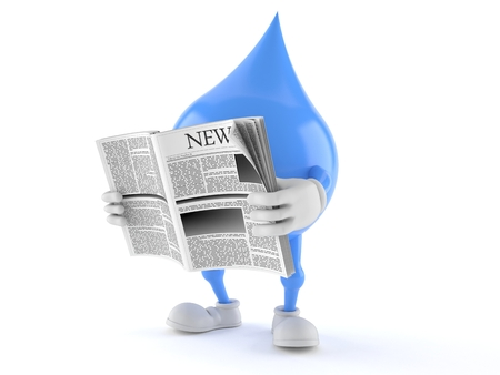 Water drop character reading newspaper on white background