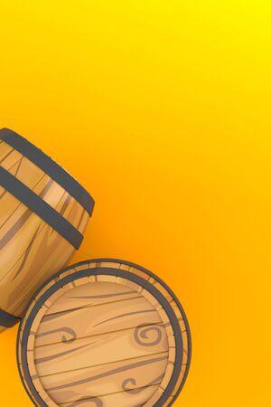 Casks on orange background Stock Photo