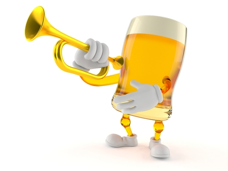 Beer character playing the trumpet isolated on white background