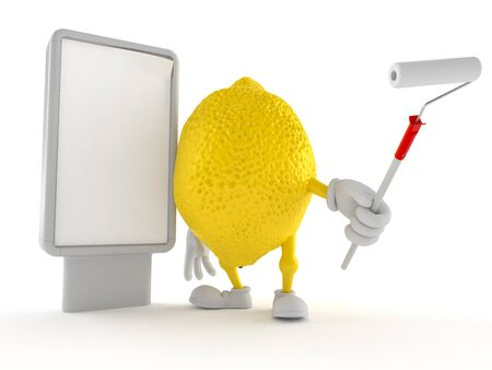 Lemon character with blank billboard isolated on white background