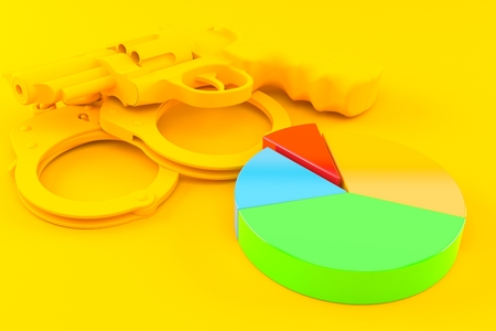 Crime background with pie chart in orange color Stock Photo