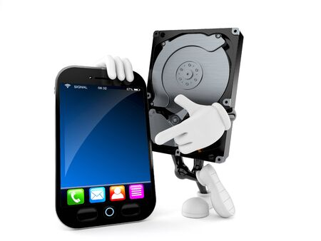 Hard disk drive character with smartphone isolated on white background