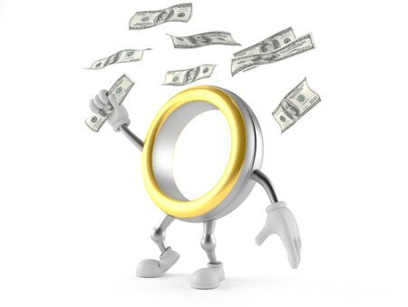 Wedding ring character catching money isolated on white background Banco de Imagens