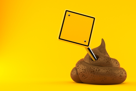 Dung poo with blank road sign isolated on orange background