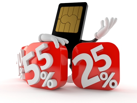 SIM card character behind percentage signs isolated on white background Stockfoto