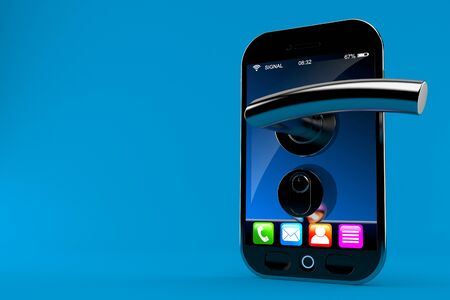 Smart phone with door handle isolated on blue background
