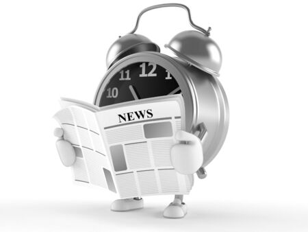 Alarm clock character reading newspaper isolated on white background