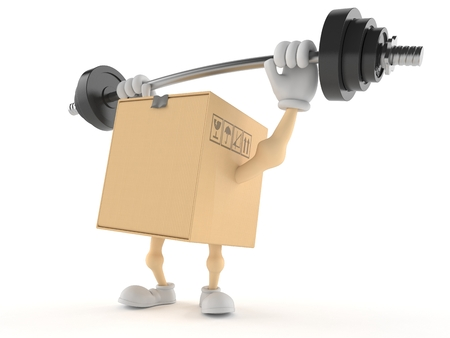 Package character lifting heavy barbell isolated on white background Foto de archivo