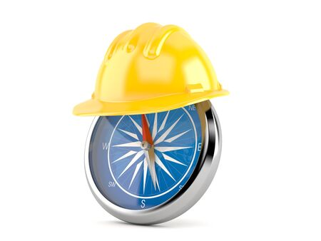 Yellow hardhat with compass isolated on white background