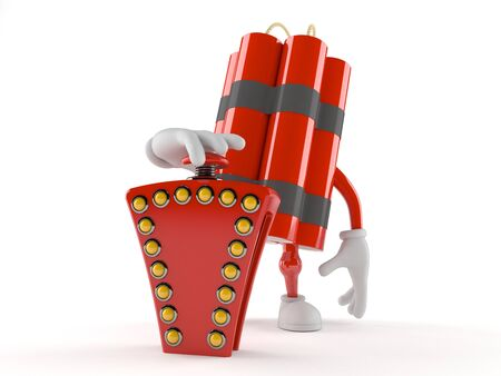 Dynamite character pushing quiz button isolated on white background Stock Photo