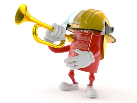 Fire extinguisher character playing the trumpet isolated on white background
