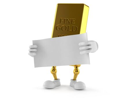 Gold character holding blank sheet of paper isolated on white background