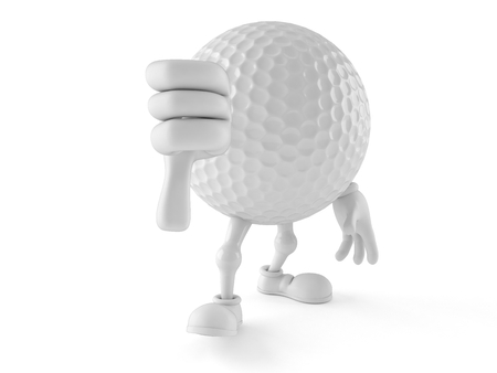 Golf ball character with thumb down isolated on white background