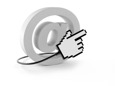 E-mail symbol with cursor isolated on white background