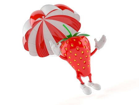 Strawberry character with parachute isolated on white background