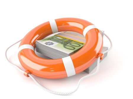 Life buoy with euro currency isolated on white background