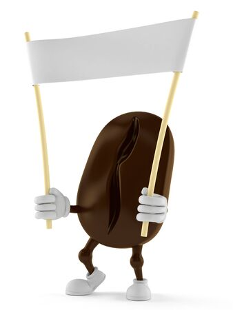 Coffee bean character holding blank banner isolated on white background Stock Photo