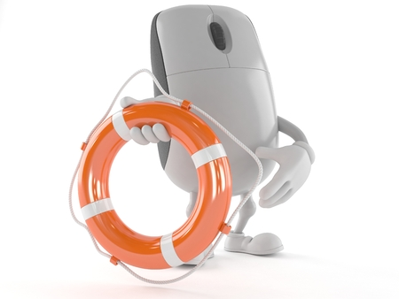 Computer mouse character holding life buoy isolated on white background Stock Photo