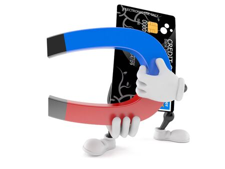 Credit card character holding magnet on white background