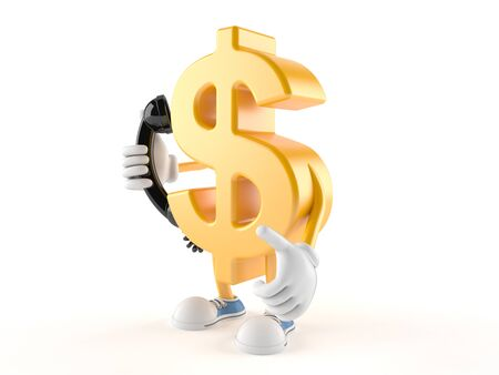Dollar character holding a telephone handset isolated on white background Stock Photo