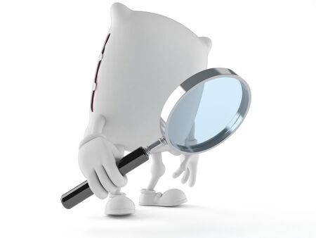 Pillow character looking through magnifying glass isolated on white background