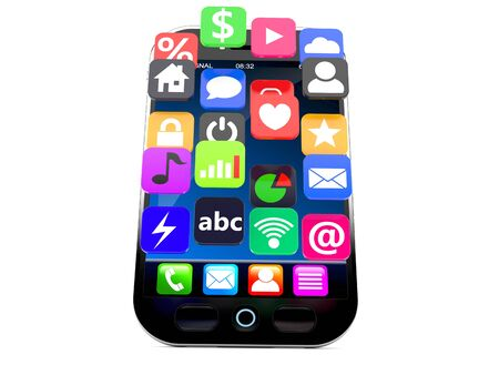 Smart phone with aplication icons isolated on white background Stock Photo