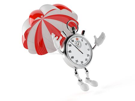 Stopwatch character with parachute isolated on white background