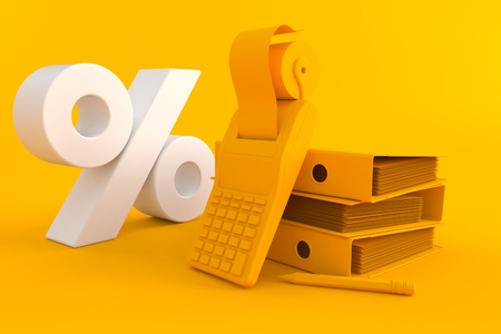 Accountancy background with percent symbol in orange color Stock Photo