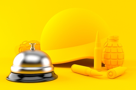 Military background with hotel bell in orange color