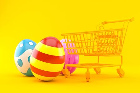 Shopping background with easter eggs in orange color