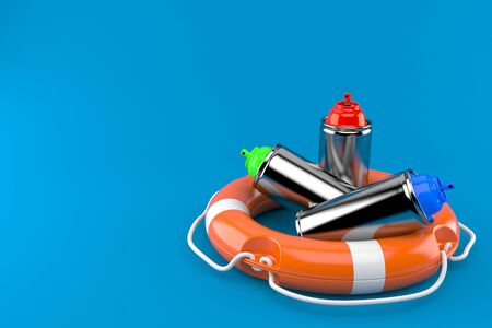 Spray cans with life buoy isolated on blue background